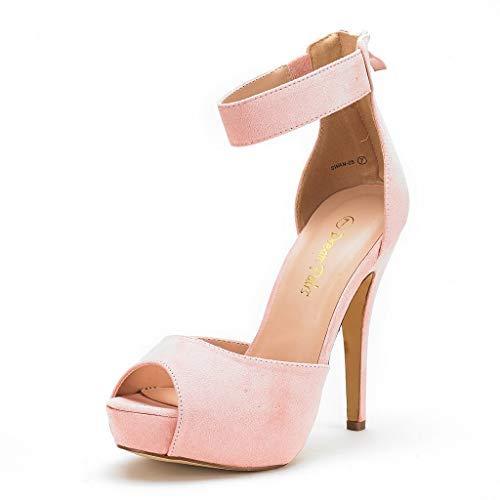DREAM PAIRS SWAN-05 New Women's Ankle Strap Back Zipper Peep Toe High Heel Platform Pump Shoes,Pink,6.5 B(M) US