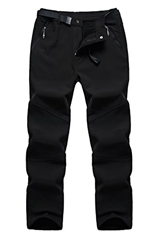 QuietClouds Women's Outdoor Water Resistant Windproof Softshell Fleece Snow Pants US1613W Black XS