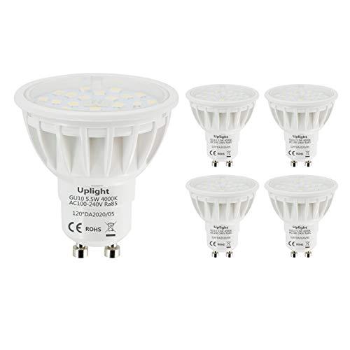 Uplight 5.5W GU10 LED Lampe Naturweiß 4000K,Ersetzt 50-60W GU10 Halogen Lampen,Nicht Dimmbar 600lm LED Leuchtmittel Ra85 120° Abstrahlwinkel,5er Pack.
