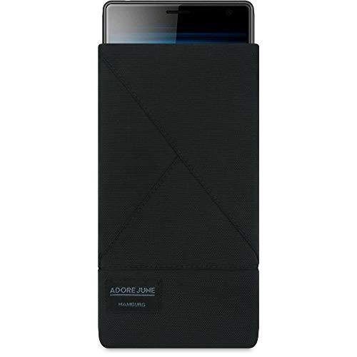Adore June Tasche Triangle kompatibel mit Sony Xperia 1 & Sony Xperia 10 Plus / 10+, Elegante Handytasche aus beständigem Textil-Stoff mit Bildschirm-Reinigungseffekt, Schwarz