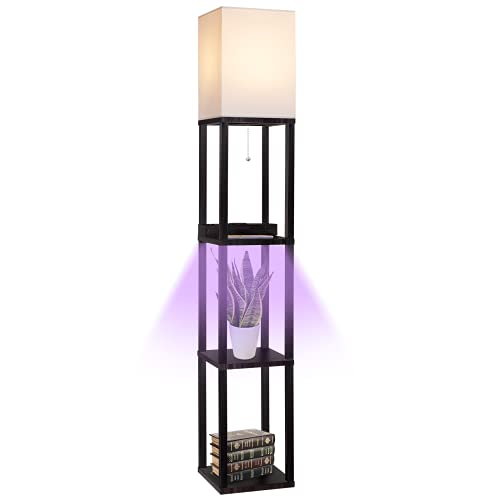 Floor Lamp with Shelves for Living Room, Shelf Floor Lamp with LED Grow Light, Wireless Charging Station, USB Port and AC Outlet, Modern Standing Light Column Lamp Tower Nightstand for Bedroom, Office