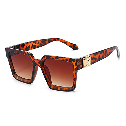 StrongAn Gafas de sol con montura cuadrada Gafas decorativas para exteriores Gafas de sol ligeras de moda para mujeres y hombres - Montura de carey Tan Len
