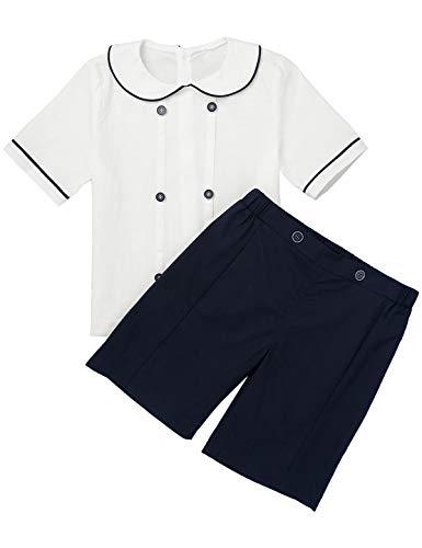 TiaoBug Baby Jungen Festlich Anzug Sakko Hemd Bluse mit Kragen Kurze Hose Shorts Sommer Hochzeit Party Kleidung Set Marine Blau 98-104