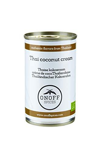 ONOFF Thailändische Kokosnusscreme - Authentischer Geschmack - Für Curry, Suppe, Brotaufstrich, Fisch & mehr - Frisch, Bio, vegetarisch, glutenfrei & laktosefrei - Asiatische Lebensmittel - 160 ml