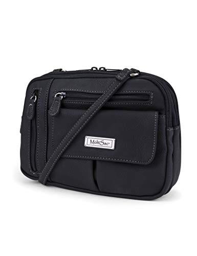 MultiSac Zippy Triple Compartment Crossbody Bag, black
