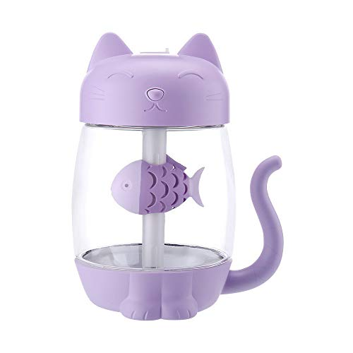 WM & MW 3 in 1 Mini Humidifier Cute Cat 350ML USB Multi-Function Humidifier Air Fan Diffuser Purifier Atomizer for Bedroom Car Travel Office