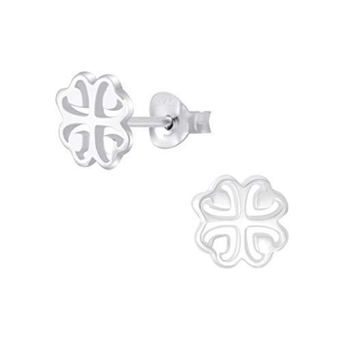 Laimons Damen-Ohrstecker Ohrringe Kleeblatt 8mm glanz Glücksbringer Sterling Silber 925