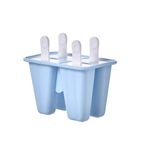 MULIN Four Grid Food Grade Silicone Ice Popsicle Mold, for Summer, Ideal for Making All Kinds of DIY Ice Food, Smooth and Sleek, Easy to Demold Ice Popsicle Tray Pan Mould Blue