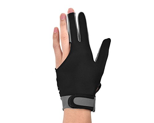 DSstyles 1 Stück 3 Finger Snooker Billard Handschuh Elastische Lycra Handschuh DREI-Finger Man Snooker Pool Billard Queue Glove Frauen Handschuh für Left Right Hand - Größe M – Grau