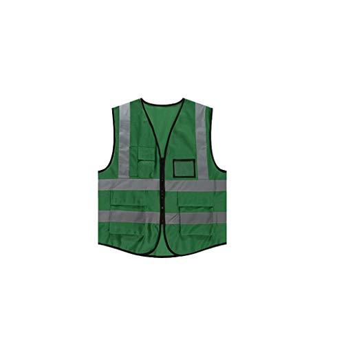 Preisvergleich Produktbild WM HOME Multi-Pocket Persönlichkeit reflektierende Weste Clip Weste Männer und Frauen Overall Baustelle Sicherheitskleidung (Color : Light Green)