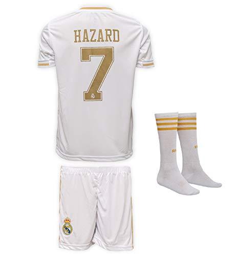 JTex Real Madrid 2019-20 Hazard - Maglia a maniche lunghe da bambino, con pantaloncini e calze, taglie 2-14, 152 (8-9 Alter)