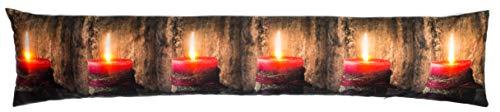 Brandsseller Weihnacht Zugluftstopper LED Beleuchtet 6 LED´s Dekokissen Windstopper 90x20 cm Kerzen Rot