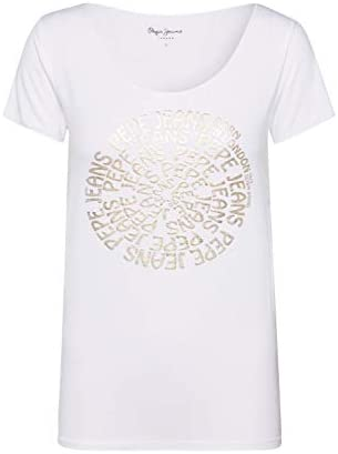 Pepe Jeans Camiseta de Manga Corta con Logotipo Dorado para Mujer