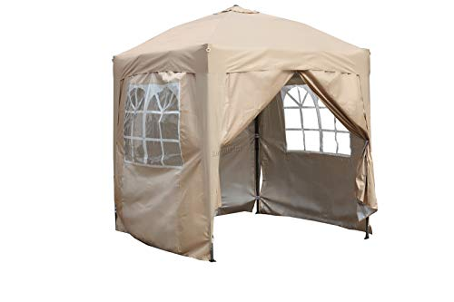 BIRCHTREE Waterproof 2m x 2m Pop Up Gazebo Marquee Garden Awning Party Tent Canopy 210D Oxford Cloth Powder Coated Steel Frame With Anchor Kits Beige