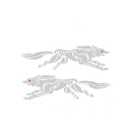 Calcomanías para autos, calcomanías para autos con lobo corriendo, rayones en la cubierta, cuerpo reflectante, decoración de calcomanías para autos modificadas en la cola de la puerta (2 pares)