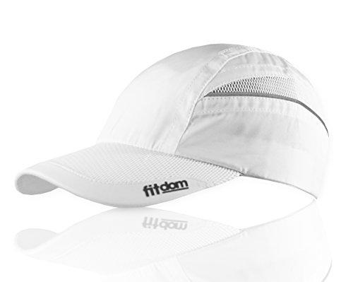 Fitdom Leichte Mütze für alle Sportarten, perfekt zum Laufen, Wandern, Tennis, Golf, Unisex, 43215-4, weiß, Einheitsgröße