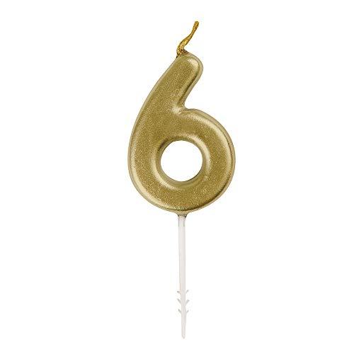 Unique Party - Mini Vela de Cumpleaños Número 6 de Oro (19956)
