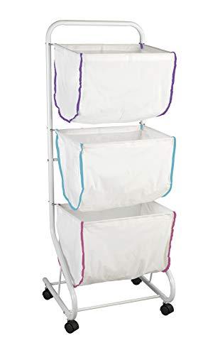 Wenko Wäschesammler Escala Weiß, mobiles Ständersystem mit drei abnehmbaren Körben und vier leichtgängigen Rollen, viel Stauraum mit 99 l und drei Fächern, (B x H x T): 46 x 126 x 44 cm