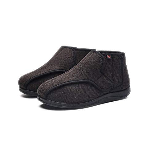 Nwarmsouth Hausschuhe Klettschuhe Senioren,Plus rutschfeste Samtfußschuhe, verstellbare Diabetikerschuhe-40_Brown,Geschwollene Füße Schuhe Pantoffeln