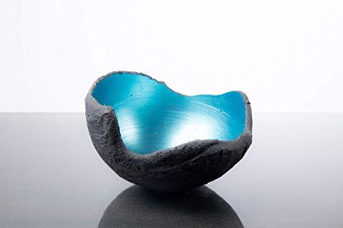 Lichtschale gletschereis blau - S (15cm) - Beton schwarz - grau - Unikat handmade - Geburtstagsgeschenk - Gartendeko - Hochzeitsgeschenk - Muttertagsgeschenk - Vatertagsgeschenk - Weihnachtsgeschenk