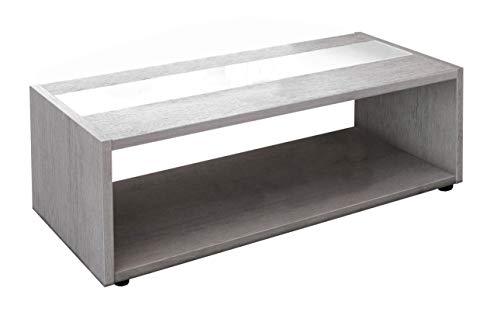 Berlioz Creations Mandise Table Basse, Chêne Cendré/Blanc Brillant, 116 x 51,5 x 34 cm, Fabrication 100% Française