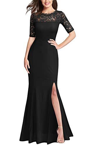 FORTRIC Women Floral Lace Split Elegant Formal Bridesmaid Wedding Dress Black M (Apparel)