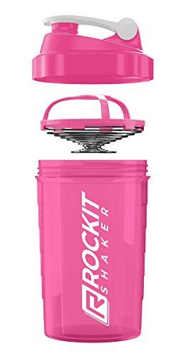 Rockitz Premium Protein Shaker 500ml - erstklassige Mischfunktion mit Infusion Sieb - für super cremige Fitness Eiweiß Shakes, Proteinshake Becher,Rosa