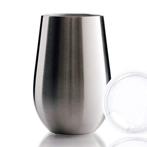 BOHORIA® Premium Edelstahl Isolierbecher | Thermo-Becher | Wein-Glas to go | Cocktail-Glas | Doppelwandig & Vakuumisoliert – (350ml) | Reisebecher mit Deckel für Kaffee, Tee, Bier, Champagner (Silver)