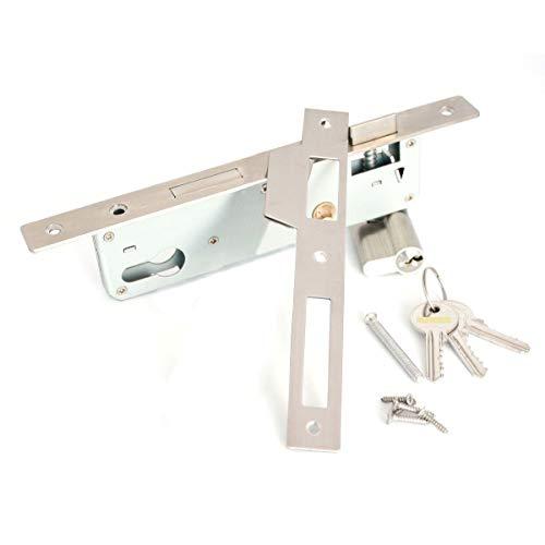 Edelstahl Rohrrahmenschloss 85 mm, Dorn 35 mm Einsteckschloss inkl. Profil-Zylinder, Schliessblech