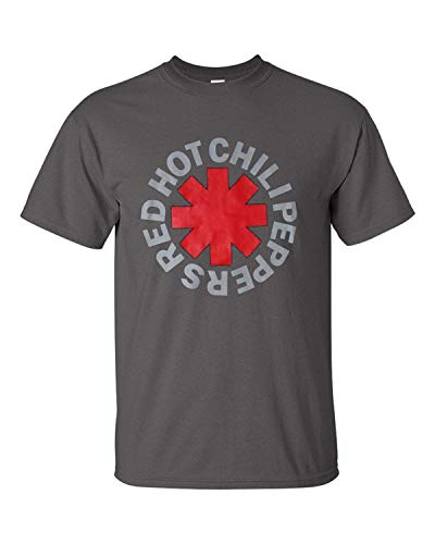 Red Hot Chili Peppers T-Shirt Funk Rock Music Band Classic LogoTee (Charcoal, Medium)