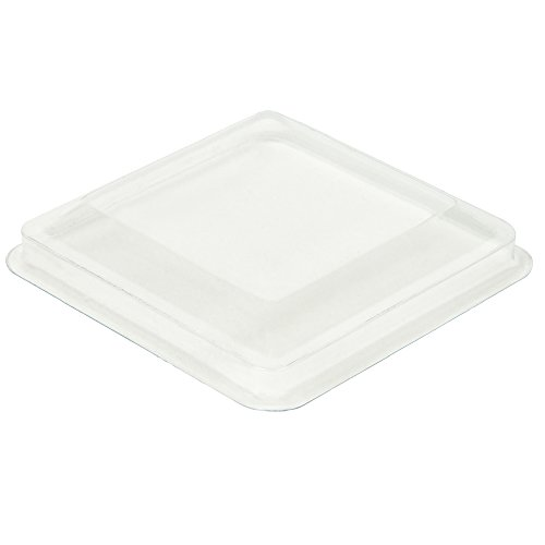 DLux 50 x 5 oz Mini Dessert Cups with Spoons, Square Large - Clear Plastic Parfait Appetizer Cup -...