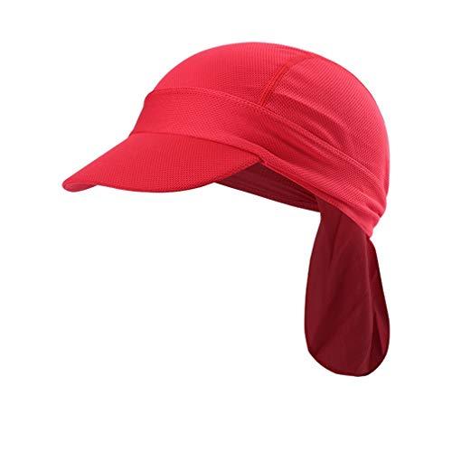 X-Labor Unisex Sonnenschutz Cap mit Schirm Atmungsaktiv Sommermütze Bandana Kopftuch Fahrrad Radsport Kopfbedeckung Sonnencap rot