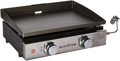 Blackstone Tabletop Grill - 22 Inch Portable Gas Griddle - Propane Fueled - 2 Adjustable Burners - Rear Grease Trap - For Outdoor Cooking While Camping, Tailgating or Picnicking - Black Griddles