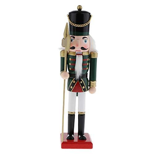 SM SunniMix Weihnachtlicher Nussknacker Soldat Figur - Festliche Weihnachtsdeko aus Holz - 30cm - Grün
