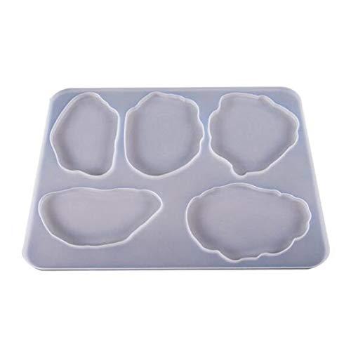 Fransande - Molde de resina de silicona, pieza de ágata en resina, 5 diseños irregulares de gran tamaño, molde de resina epoxy para la fabricación de posavasos en forma de nube