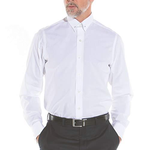 Savile Row Men's Formal Dress Shirt - Long Sleeve Slim Fit Poplin Pin Collar, White, 16.5 Inches Collar Double Cuff Standard