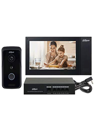 Dahua KITKTP02 - Kit de Videoportero IP Frente de Calle, Monitor y Switch PoE/Pantalla LCD Touch de 7'/ Cámara 1MP / Ranura SD / IP65