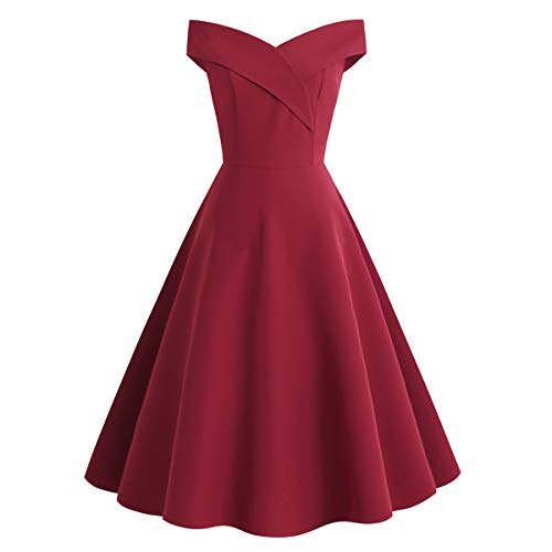 1950er Jahre V-Ausschnitt Cocktail Swing Kleider knielangen ärmellose Party Elegante einfarbig für Damen Rotwein Größe S