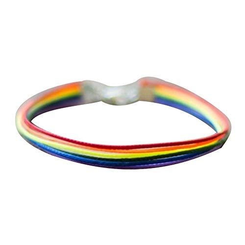 Pulsera creativa para mujer de gallina, hecha a mano, con cuerda de arco iris, color arcoíris