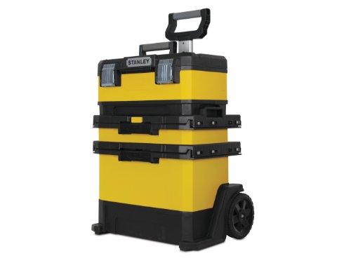 Stanley Rollende Werkstatt (aus Metall-Kunststoff, Werkzeugkoffer mit 1 Schublade, großes Staufach, abnehmbare Werkzeugbox, robuste Schwerlasträder) 1-95-621