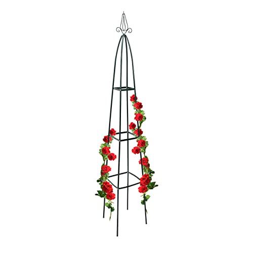 Relaxdays Rankturm Metall spitz 190 cm, Rankhilfe für Kletterpflanzen und Rosen, freistehende Ranksäule für Garten, grün