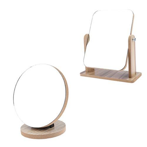 Sharplace 2pcs Miroirs Pliable de Maquillage De Table En Bois pivotant à 360° Miroir pour Rasage Salle de Bain
