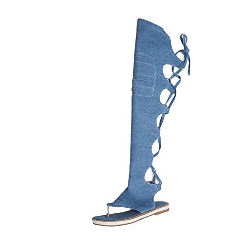 Sandalen Vrouwen Zomer Platte Sandalen Casual Romeinse Sandalen Gladiator Mode Knie Hoge Vrouwen Zomer Laarzen Strand Sandalen Voor Dames Voor Spot/Strand/Zwembad/Cruise/Reizen/Bruiloft