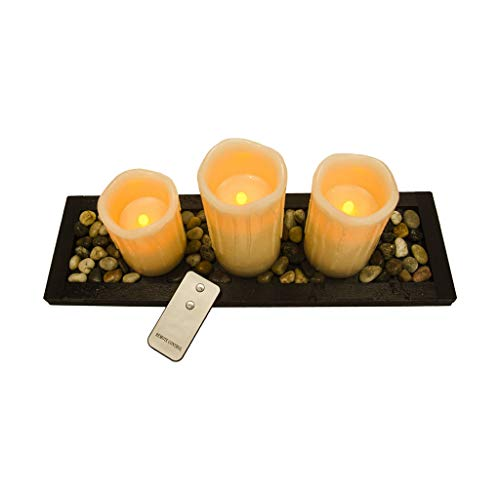 Flameless Led Ivory Candle Gift Set of 3 Pillar Candle Candles, Led Tea Light Set with Decorative Pebbles Rocks and Wood Tray, with Remote Timer, Gift for Home, Wedding, Event Party