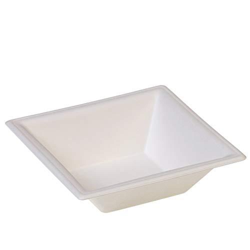 50 Bols Blancs KARO Carrés Canne à Sucre 16 x 4, 5 cm - 450 Ml