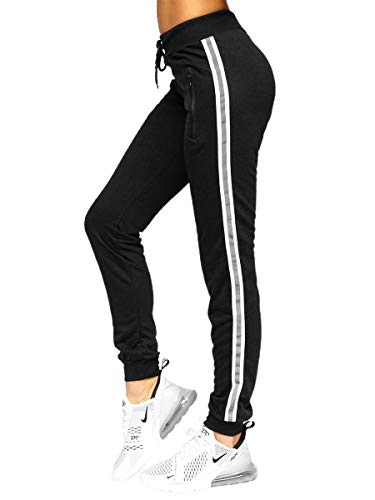 BOLF Damen Sporthose Jogginghose Trainingshose Fußballhose Fitnesshose Jogger Sweathose Jogpants Sweatpants Slim Fit Street Style RED Fireball HW2081F Schwarz M [F6F]