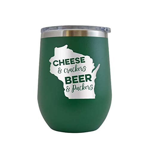 Cheese & Crackers Beer & Packers - Engraved Tumbler Wine Mug Cup Unique Funny Birthday Gift Graduation Gifts for Men or Women Football Wisconsin Green Bay Tailgate Badgers Packers (Green - 12 oz)