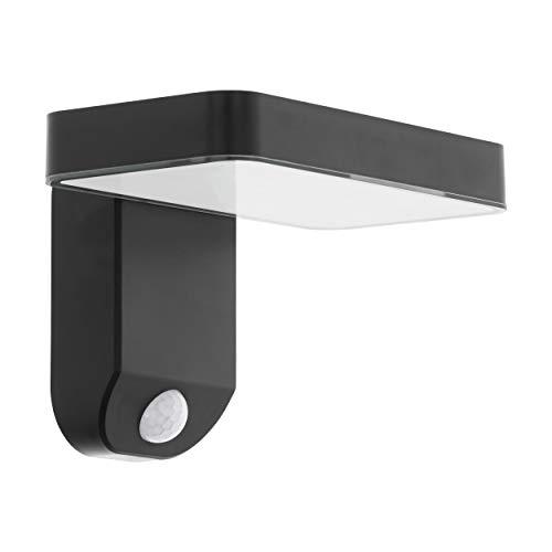 EGLO LED Außenleuchte Pastion, 1 flammige Außenlampe mit Bewegungsmelder, Solar-Wandlampe aus Kunststoff in Schwarz, warmweiß, Eckmontage möglich