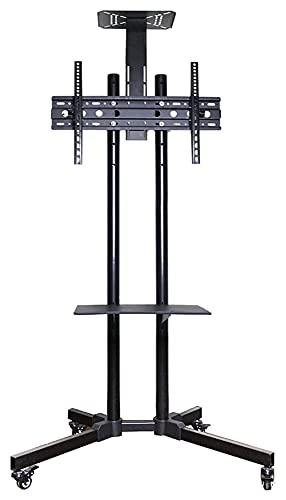 WECDS Soporte de TV con estantes para 32 a 65, capacidad para 50 kg de altura inclinable ajustable (color negro)