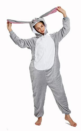 Animal Cosplay Costume Adulte Licorne Onesie Pyjamas Avant Fermeture Éclair Cosplay Vêtements De Nuit Halloween Costume (Lapin, S/Hauteur 147-157cm)